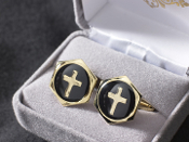 Cufflinks with inlaid gold plated cross