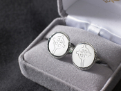 Silver-plated cufflinks with Celtic cross