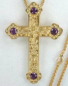 Vine Design Cross (Gold plated) with Purple Faceted Stones