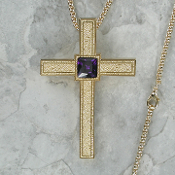 pebbled finish gold clergy cross with Amethyst