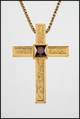 pebbled finish gold clergy cross with red stone
