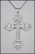Large Scrolled Design Silver Plated Cross